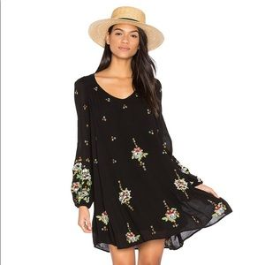 Free People Oxford Dress Black Embroidered Boho